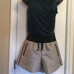 Ann Taylor Loft Black and Beige Striped Shorts